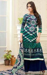 Woolen Jacquard Green, Off White & Blue Salwar Suit