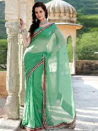 Green Net Beads Designer Saree