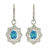 Blue and White Topaz Gemstone 925 Silver Earring