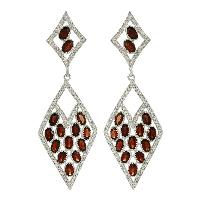 Designer Garnet With White Topaz Gemstone 925 Silver Earring