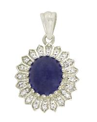 Genuine Tanzanite With CZ Gemstone 925 Silver Pendant