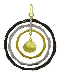Lemon Quartz Gemstone 925 Sterling Silver Multi Circle Pendant