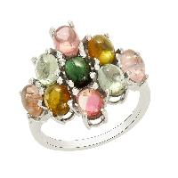 Party Wear Peridot With Blue Topaz Gemstone 925 Silver Ring