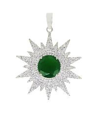 Star Looking White Topaz With Green Onyx Gemstone 925 Silver Pendant