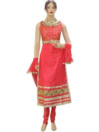 Bollywood Designer Netted Pink Long Straight Suit