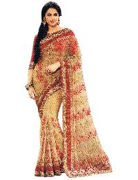 Bollywood Net Gold Saree With Unstitched Silk Red Blouse