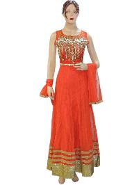 Designer Fancy Orange Long Anarkali Suit