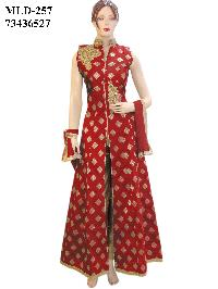 Designer Fancy Silk Red Long Jacket Style Suit With Silk Gold Bottom