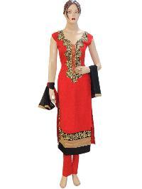 Designer Georgette Red Long Straight Suit