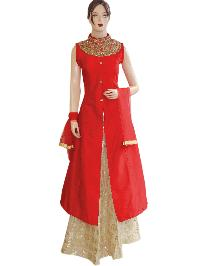 Designer Silk Red Long Jacket Style Suit With Jute Gold Lehenga