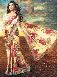 Ethnic Indian Designer Satin Silk Printed Saree