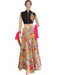 Ethnic Indian Silk Black Top With Silk Printed Lehenga