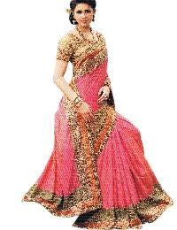 Ethnic Silk Pink Saree With Unstitched Brocade Gold Blouse