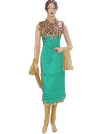 Exclusive Designer Silk Sea Green Long Straight Suit