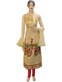 Exclusive Indian Bollywood Net Gold Long Straight Suit