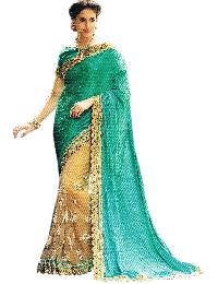 Exclusive Net Gold Pleats With Silk Sea Green Pallu Saree