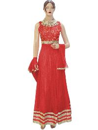 Fancy Designer Netted Red Long Anarkali Suit