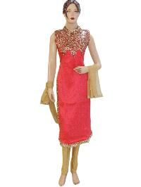 Fancy Designer Silk Pink Long Straight Suit
