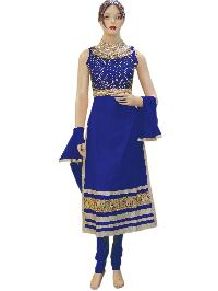 Fancy Exclusive Designer Netted Blue Long Straight Suit
