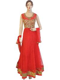 Fancy Exclusive Netted Red Long Length Floor Anarkali Suit