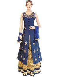 81da0e15a4 Fancy Silk Navy Blue Long Jacket Style Suit With Net Gold Lehenga