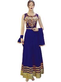 Heavy Fancy Netted Blue Long Floor Length Anarkali Suit