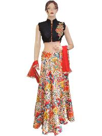 Indian Bollywood Designer Silk Black Top With Silk Printed Lehenga