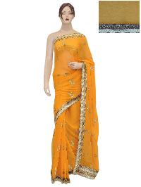 Indian Bollywood Girlish Georgette Mustard Saree