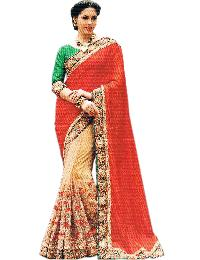 Net Gold Pleats, Silk Red Pallu With Unstitched Silk Green Blouse