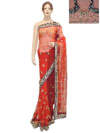 Net Red Saree With Heavy Designer Red Unstitched Blouse
