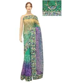 Net Shaded Saree, Silk Green Unstitched Blouse
