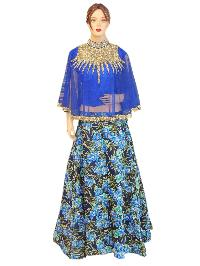 Silk Blue Top, Embroided Net Blue Top With Silk Printed Lehenga