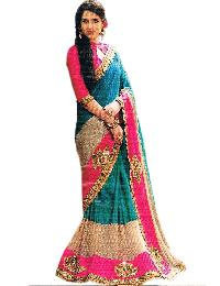 Silk Net Combination Saree With Unstitched Silk Pink Blouse