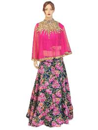 Silk Pink Top, Embroided Net Pink Top With Silk Printed Lehenga