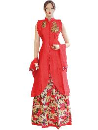 Silk Red Long Jacket Style Suit With Silk Printed Lehenga