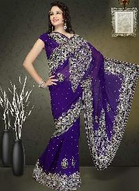 Lavender Black Border Embroidered Net Saree