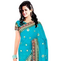 Turquoise Colour Georgette Embroidered Lehenga Style Saree