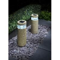 Stone Effect Bollard Solar Lights 2pk