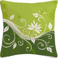 Green Abstrac Flower Polyester Cushion