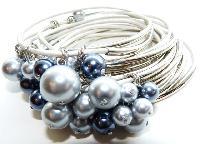 Silver Leather Bangle Bracelets