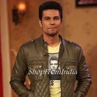 Custom Made Bollywood Star Randeep Hooda Light Green Lamb Leather Jacket