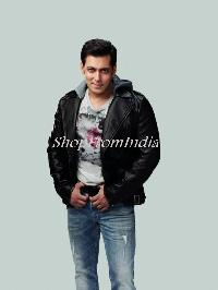 Custom Made Bollywood Star Salman Khan Black Lamb Leather Jacket