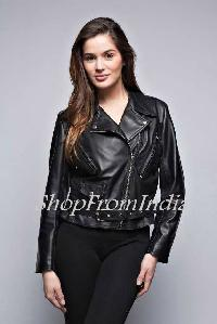 Custom Made Women Lamb Black Leather Jacket