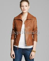 Custom Made Women Lamb Brown Leather Jacket