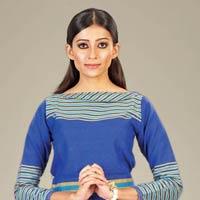 Royal Blue 3d Stripe Lace Hem Dress