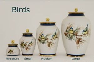 Birds Pottery Ashes Urn