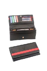 Red Striped Leather Wallet