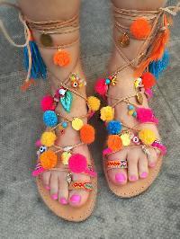 Beautiful Beach Pompom Gladiator Boho Sandals For Ladies