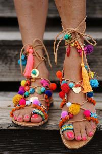 Handmade Leather Knee-High Gladiator Pompom Sandals