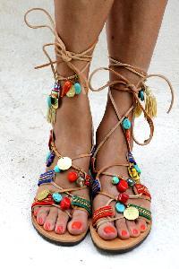 0950dff9d4508c Ladies Hellenic Ladies Greek Charms Beads Gladiator Sandals